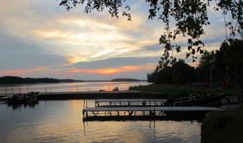 boat launch sunset